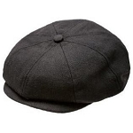 Born To Love Newsboy Cap - Black Herringbone
